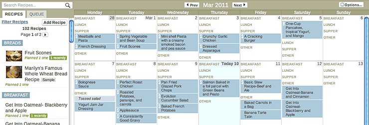 Monthly Meal Recipe Planner